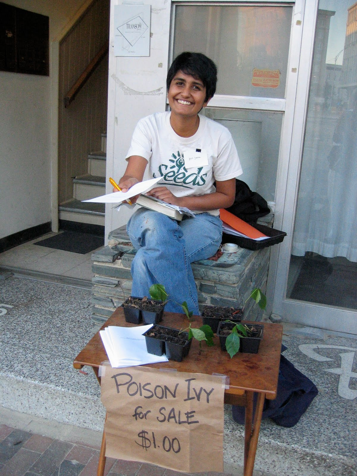 "Kriti Sharma participant in the Urban Anthropology project doing performance ""Poison Ivy for Sale"" with self-produced ""care manual"""